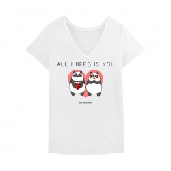 All I need is you - Tshirt Femme blanc - Jean Michel Panda