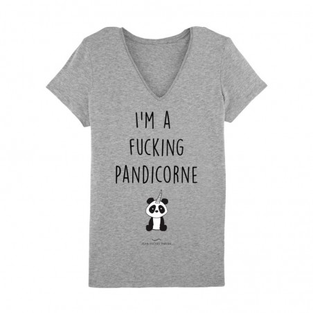 Tshirt Femme Taille XS - I'm a fucking pandicorne Gris