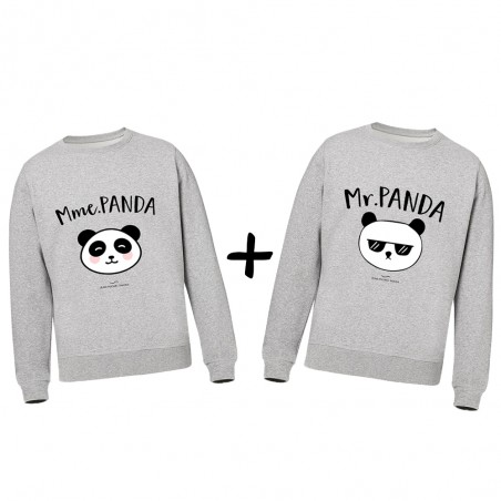 Pack Sweats Mr & Mme panda sweat shirt gris