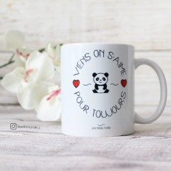 Shooting photo du mug Viens on s'aime pour toujours - Jean Michel Panda