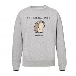 Attention je pique - Pull Homme gris - Jean Michel Panda