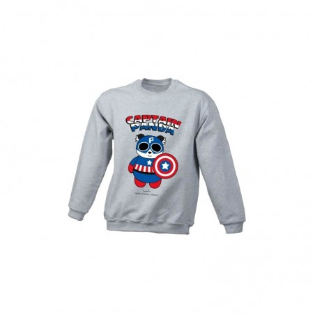 Captain panda - Sweat-shirt gris enfant - Jean Michel Panda