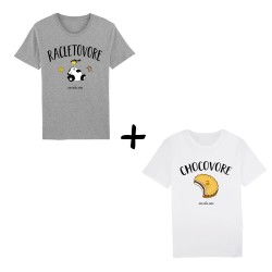 Chocovore et racletovore - Pack t-shirts homme - Jean Michel Panda