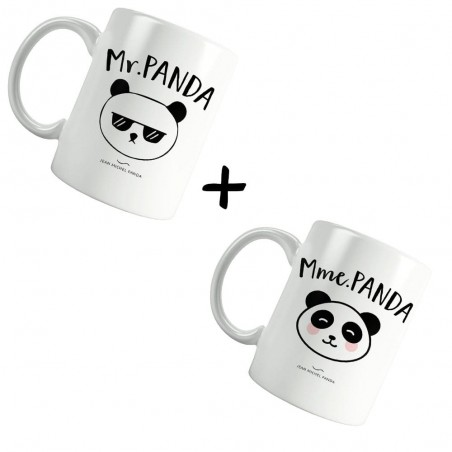 Monsieur & Madame panda - Pack Mugs blanc - Jean Michel Panda