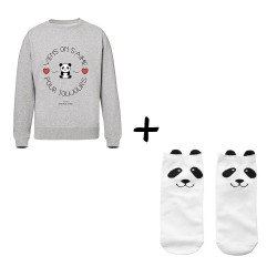 Sweat Viens on s'aime et chaussettes Pandas - Pack - Jean Michel Panda