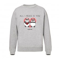 All i need is you - Pull gris Unisexe - Jean Michel Panda
