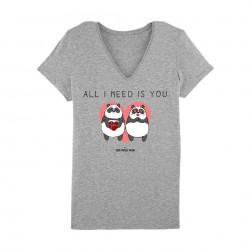 All I need is you - Tshirts gris femme - Jean Michel Panda