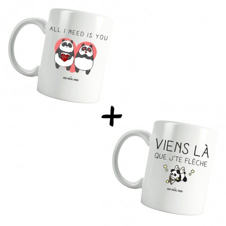 All i need is you Et Viens là que j'te flèche - Pack Mugs - JM Panda