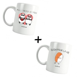 All i need is you & Sushi pour la vie - Pack Mugs - Jean Michel Panda