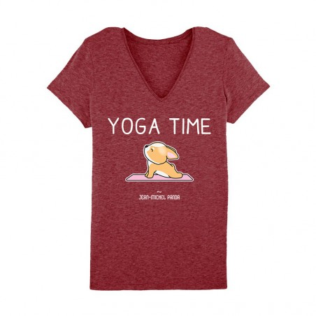 Yoga time - Tshirt bordeaux Femme - Jean Michel Panda
