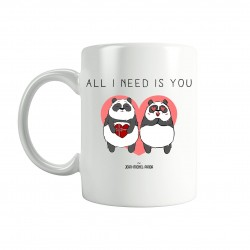 All i need is you - Mug blanc - Jean Michel Panda
