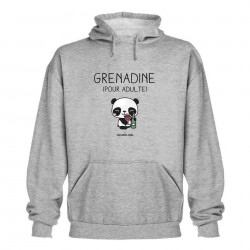Grenadine pour adulte - Sweat capuche gris - Jean Michel Panda